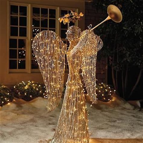 lighted rattan trumpet angel christmas decor pinterest