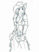 Coloring Cowgirl Pages Printable Recommended sketch template
