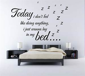 Quote wall stickers for bedrooms : Bruno mars lazy song music lyrics quote bedroom wall art