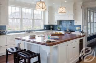 Blue Kitchen Tile Backsplash White Kitchen Cabinets With Blue Subway Tiles Transitional Kitchen