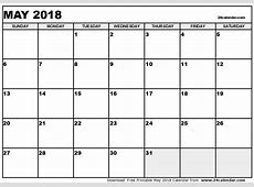 May 2018 Calendar Template monthly printable calendar