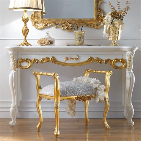 gold vanity table set ornate white and gold leaf italian dressing table
