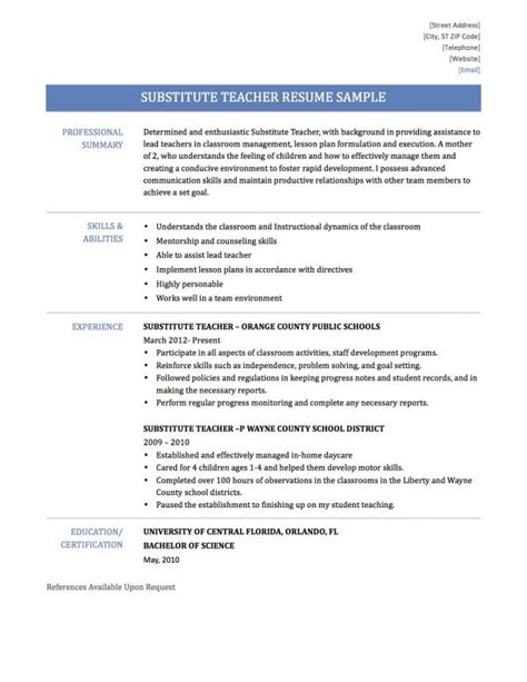 Substitute Teaching Resume by Substitute Resume Resume Resume Template