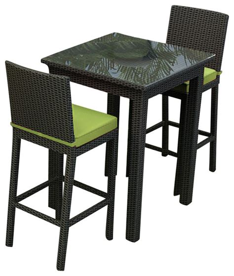 barbados 3 outdoor wicker bar set kiwi cushions