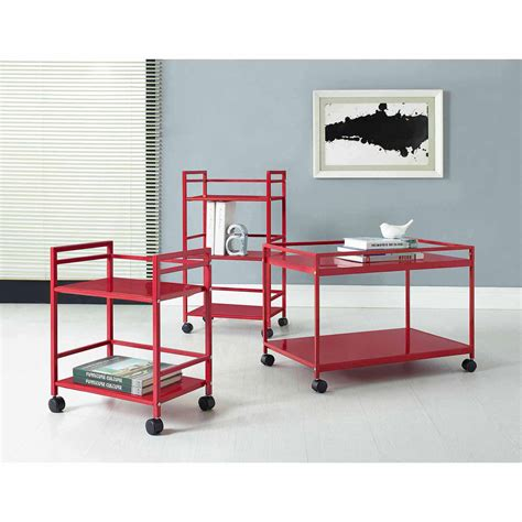 It's reminiscent of an industrial rolling cart and looks great painted glossy white, matte black, or with a rustic stain finish! Altra Furniture Marshall Rolling Coffee Table Cart, Multiple Colors - Walmart.com - Walmart.com