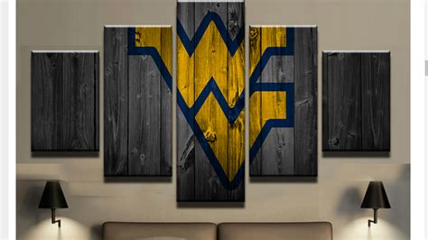 Framed 5pcs West Virginia College Barn Wood Style Canvas