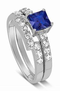 luxurious 2 carat princess cut blue sapphire and white With diamond and sapphire wedding ring sets