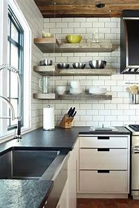 Industrial floating shelves kitchen transitional with