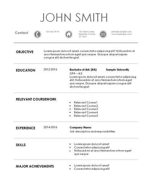 resume for internship internship resume template