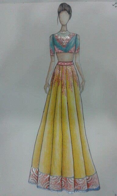 ravi lehenga sketch ravii fashion sketches fashion