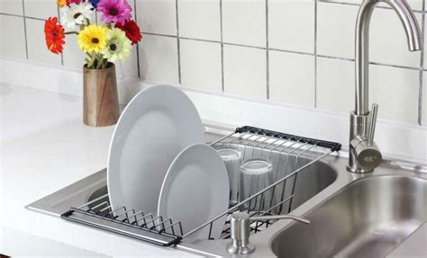 kitchen sink racks stainless large stainless steel dish drainer size of cutlery 5915