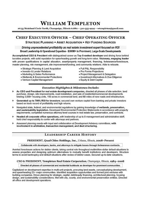 2016 ceo resume exle writing resume sle writing