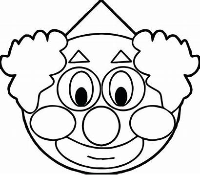 Clown Coloring Face Pages Clipart Scary Fish
