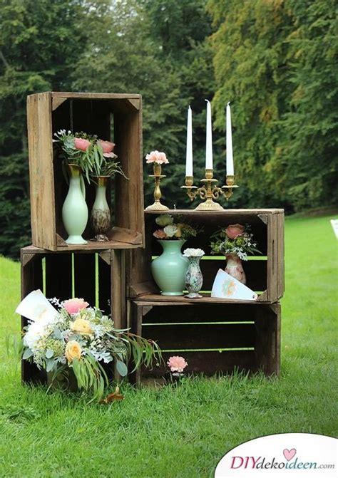 Weinkisten Garten gartendeko mit weinkisten regal aus obstkisten weinkisten