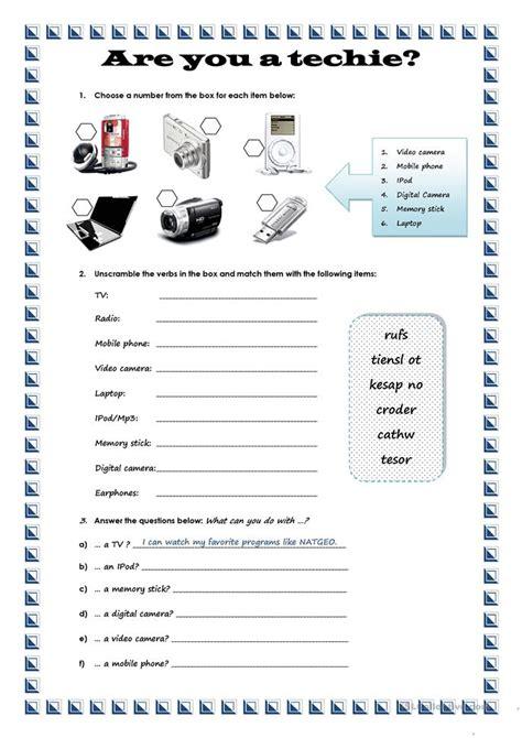 technological gadgets worksheet  esl printable