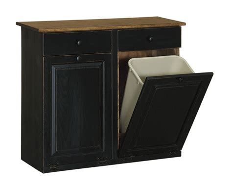 Double Trash Bin Cabinet With Drawers  Peaceful Valley