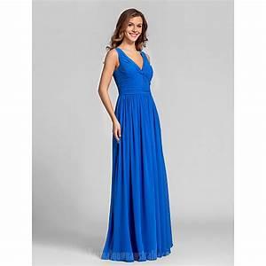 Long Floor-length Georgette Bridesmaid Dress Royal Blue ...