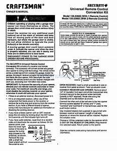 Craftsman Garage Door Opener Operating Manual