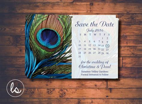 Peacock Save The Date ~ Peacock Feather ~ Calendar Save