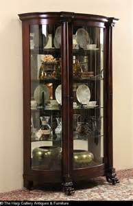 empire 1900 antique mahogany curved glass china curio cabinet