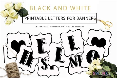 traceable letter templates for banners free printable black and white banner letters diy swank