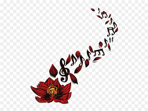 sleeve tattoo musical note drawing red lotus notes spread png