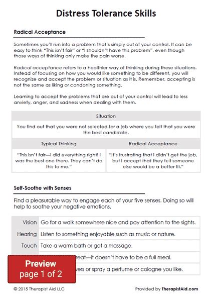 dbt distress tolerance skills worksheet therapist aid