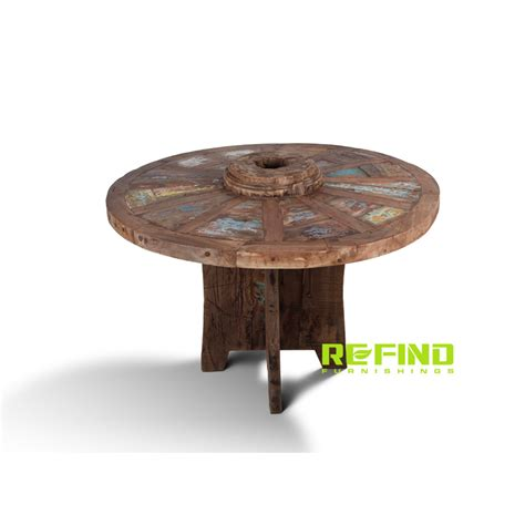 Round Wood Boat by Recycled Boat Wood Round Dining Table Indonesian