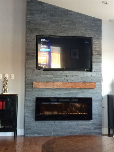 rock fireplace wall grey stone fireplace with floating mantle electric fireplace fireplace ideas pinterest