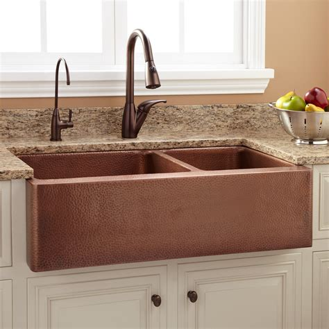 Ideas For Kitchen Walls - 36 quot tegan 70 30 offset double bowl copper farmhouse sink kitchen