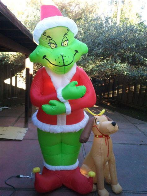 large blow up christmas decorations gemmy airblown up grinch max yard display 8 ft yard and