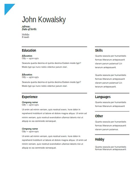 Cv Creator by Cover Letter Sles