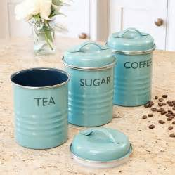 vintage kitchen canisters sets vintage blue tea coffee sugar canister set by dibor notonthehighstreet