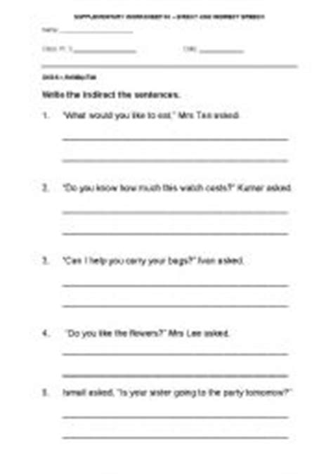teaching worksheets direct speech