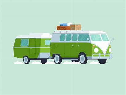 Camper Van Vw Volkswagen Trailer Animation Icon