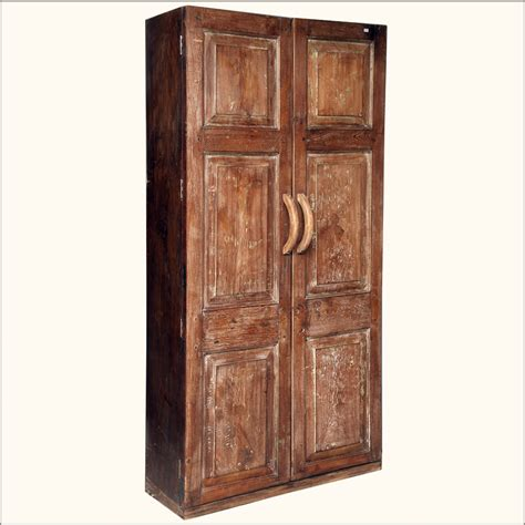Large Clothing Armoire by Rustic Reclaimed Wood Distressed Wardrobe Clothing Storage