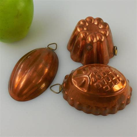 small copper tin food molds forms pans vintage bm douro portugal olde kitchen