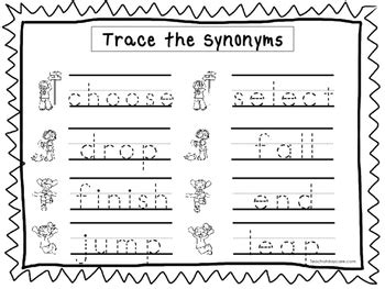 2 trace the synonyms worksheets preschool kdg handwriting 655 | original 2558096 1