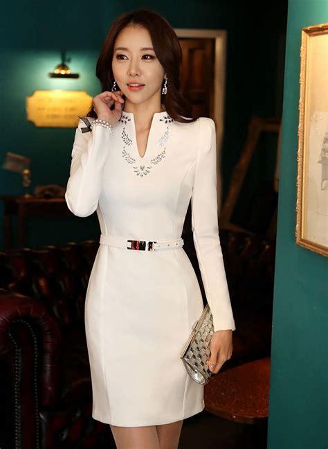 korea formal dress floral pattern beading  neck dress