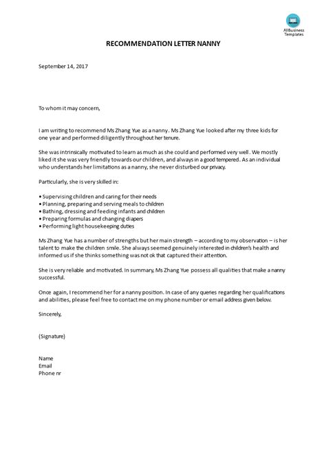 reference letter nanny templates  allbusinesstemplatescom