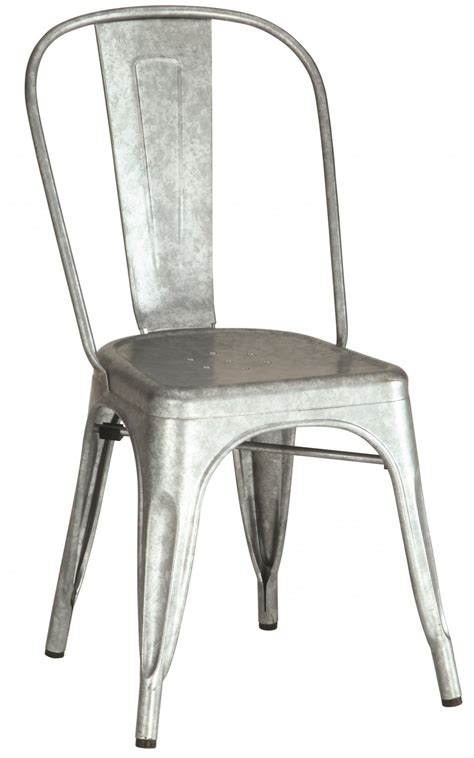 oswego industrial metal chair in galvanized finish set of 4