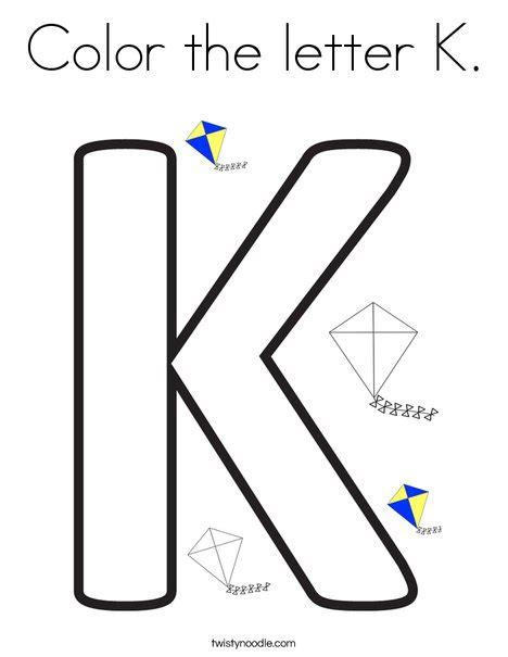color k color the letter k coloring page twisty noodle