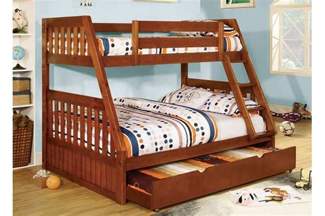 twin over full canberra oak mission style angled bunk bed