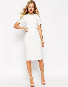 asos white embellished collar crop top pencil dress lyst With robe blanche fourreau
