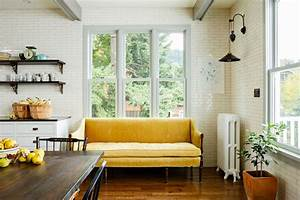 Mustard yellow sofa eclectic kitchen jessica for What kind of paint to use on kitchen cabinets for sofa size wall art