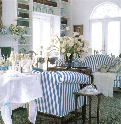 image blue and white striped sofa