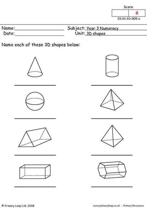 math worksheets three dimensional shapes them