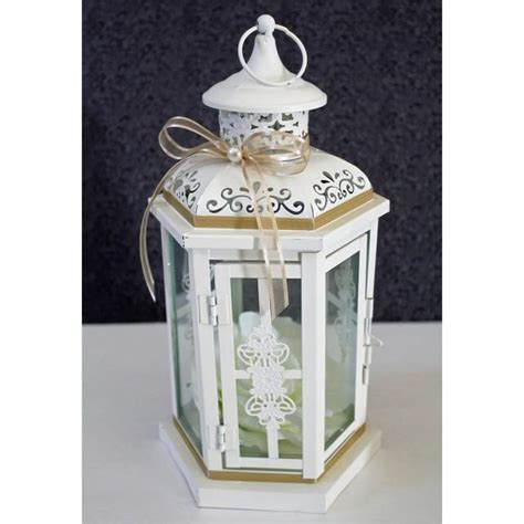 Wedding Lantern Centerpiece Antique White Ivory Finish