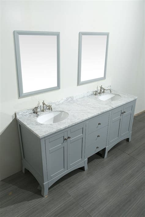 Transitional 72 inch Gray Bathroom Vanity, with White
