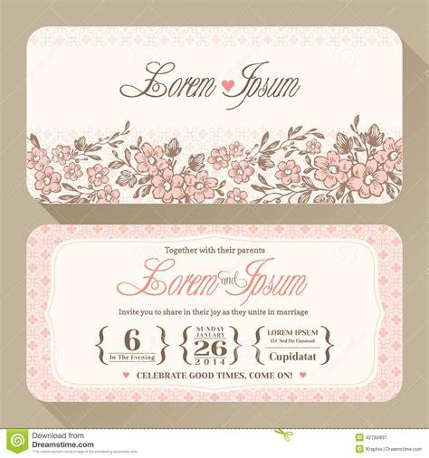 invitation card vintage floral wedding invitation card design stock vector illustration of pattern vector